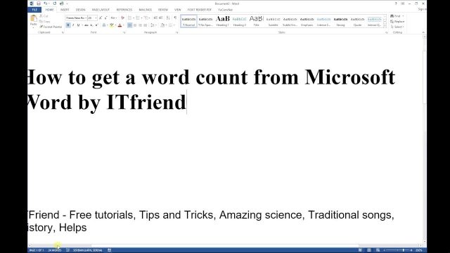 How to get a word count and number of characters from Microsoft Word 2016