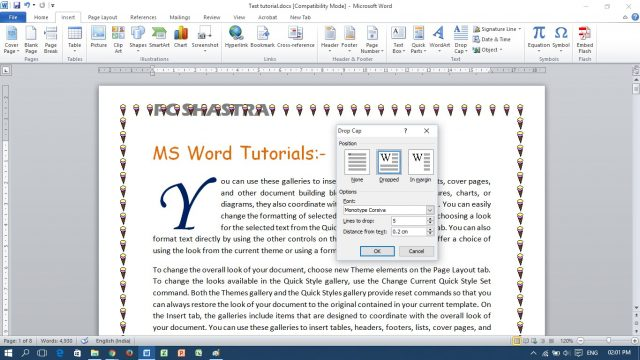 How to Insert Drop Cap and Set Position in MS Word