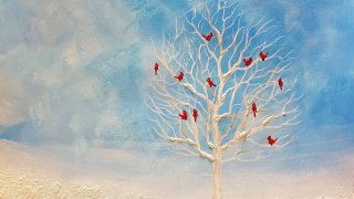 Easy Winter White Tree with Cardinals Acrylic Painting Tutorial LIVE Christmas Lesson