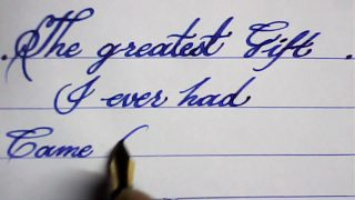 Hand writing with fountain pen   calligraphy   mazic writer