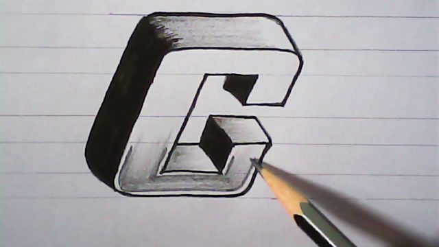 "How to draw 3D letter "" C "" 