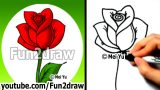 How to Draw an Easy Rose – Drawing Lessons – Learn to Draw – Fun2draw