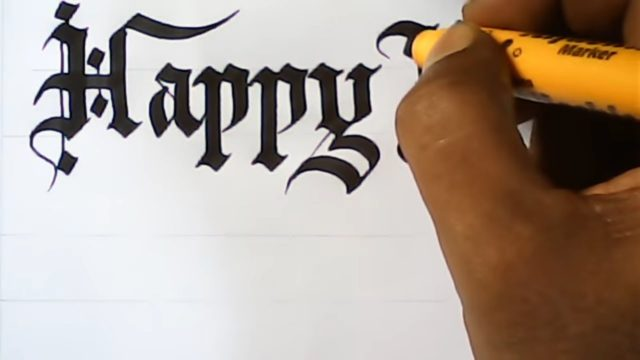 Very satisfying calligraphy | Happy new year greetings | gothic letters