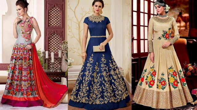 New Stylish Long Dresses Designs 2018,party wear, fancy dresses,GF Designer
