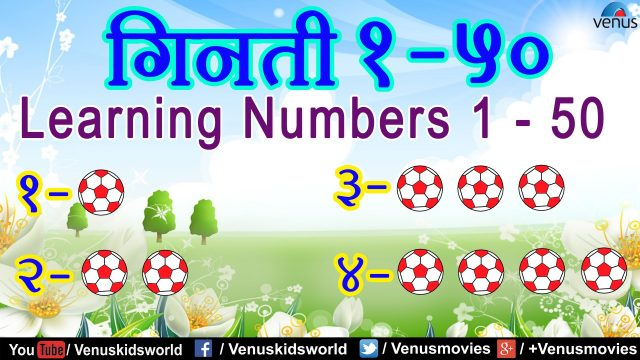 Hindi Lessons ~ Learning Numbers 1 – 50