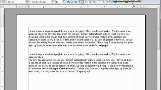 LibreOffice-Writer (4) Word Wrap