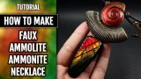 DIY Faux Ammolite Ammonite Necklace. Polymer Clay Jewelry Making. VIDEO Tutorial