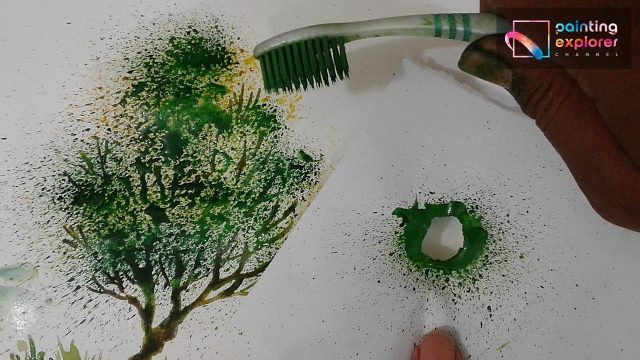 TOOTH BRUSH WATERCOLOR EFFECT FOR A TREE PAINTING – TIPS & TRICKS –  PAINTING EXPLORER
