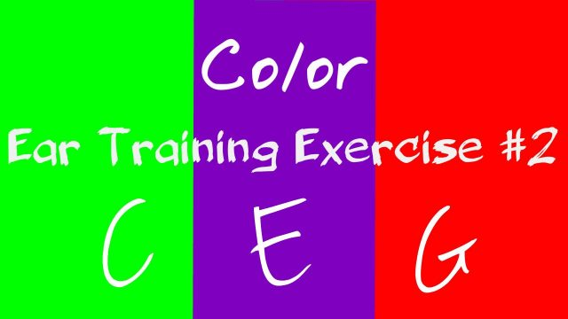 ear training exercise | major chord C E G | print note in brain with color 2